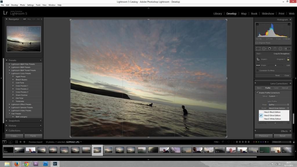 Lightroom 5 Lens Corrections Panel with GoPro selected under manufacturer