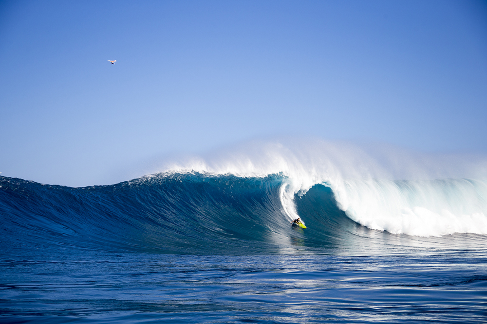 Mark Healy, shot by Zak Noyle, featured on Surfermag.com, notice the DJI Phantom quad copter in the top left