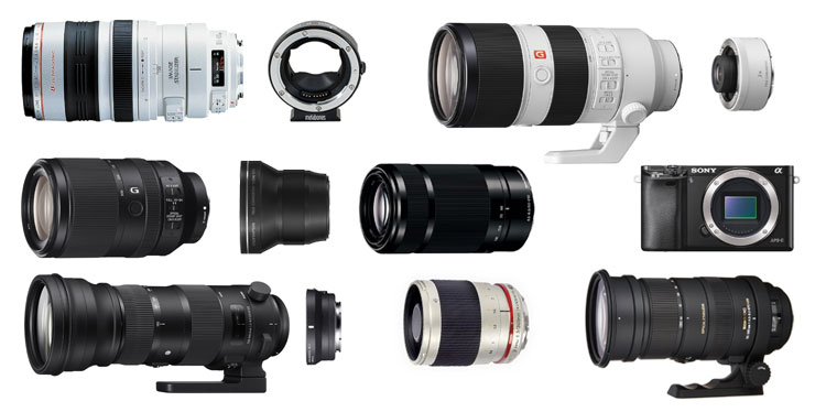 Long telephoto zoom lenses for the sony a6000 camera