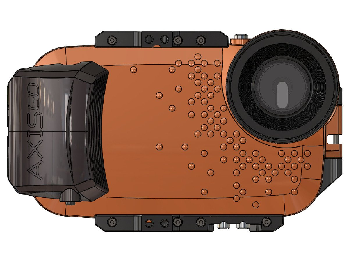 The AxisGO 7+ water housing from the front
