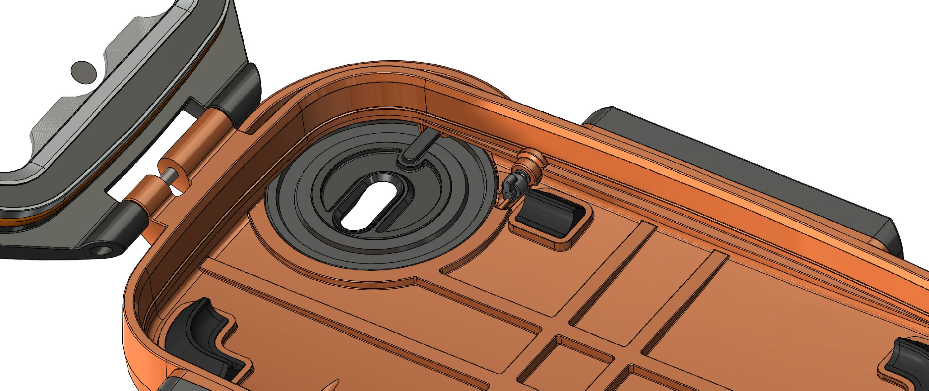 The AxisGO 7+ water housing has a power button and allows use of both lenses on the iPhone 7 plus