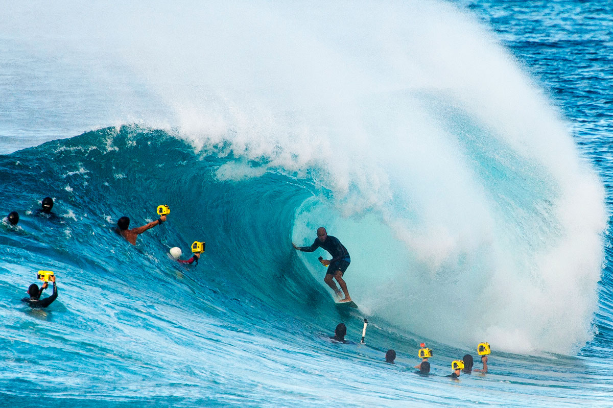 Kelly Slater and Photographers, Photo by Ryan Miller via Stab mag
