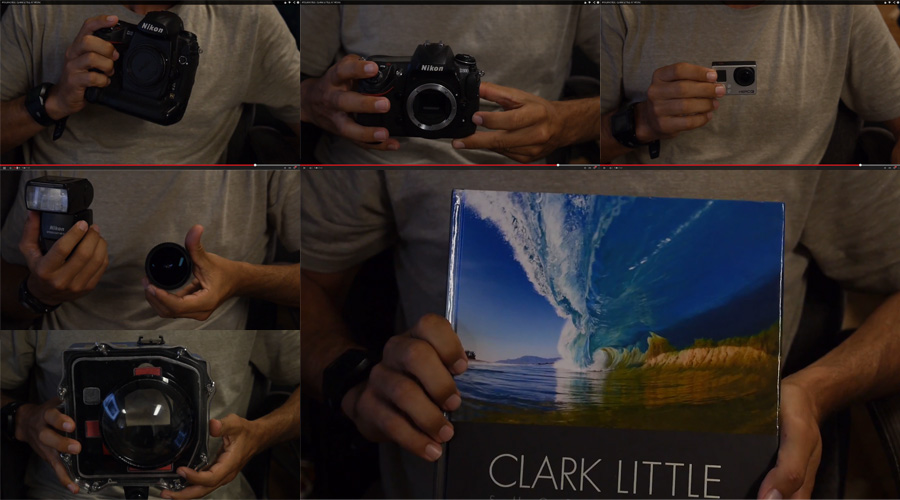 Clark Little's photo gear, as featured in the Hurley Tour Notes video on Youtube.