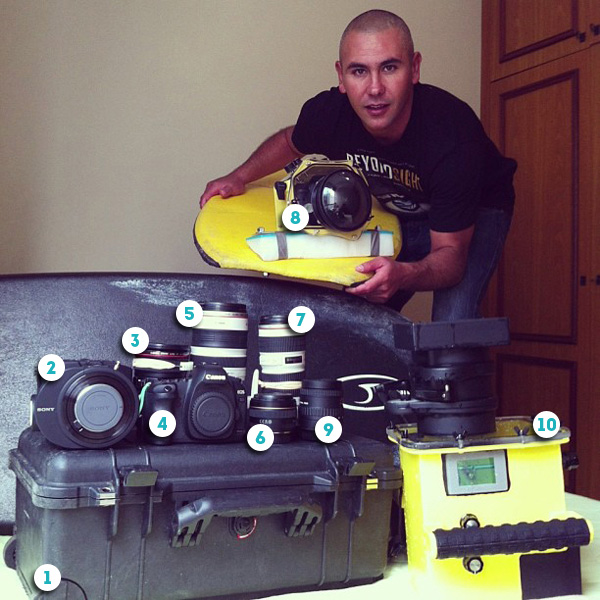 Paulo Barcellos and his surf photography and video kit