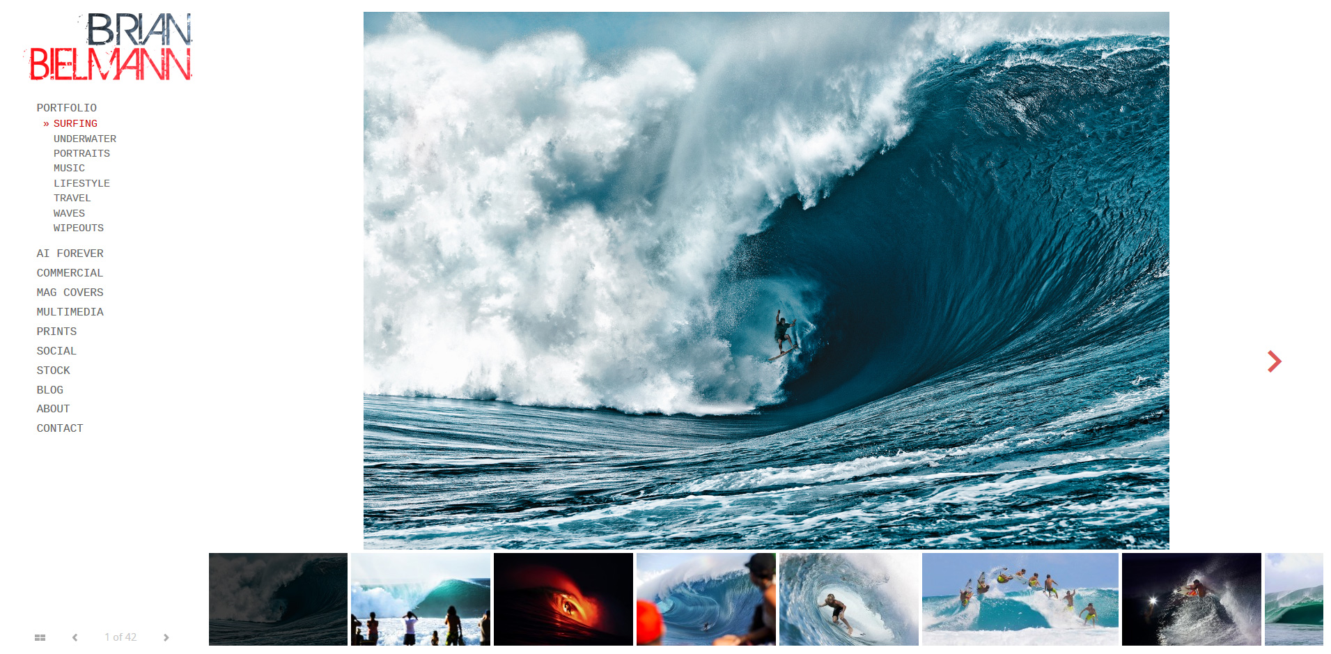 Brian Bielman's new website, featuring a photo of Nathan Fletcher at Teahupoo