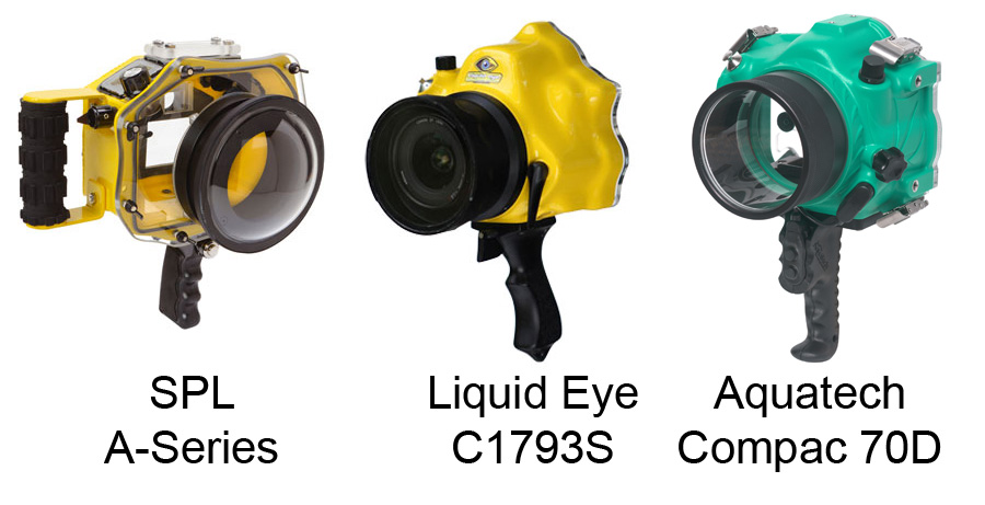 Some of the current range of housings for the Canon 70D