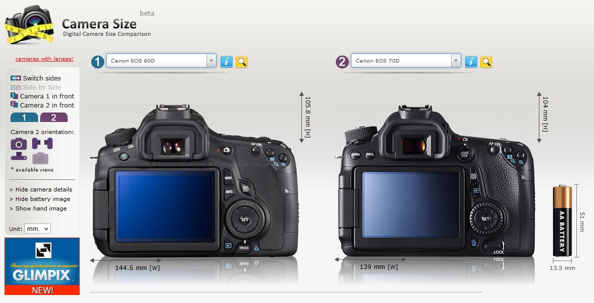 camerasize.com is a handy site for comparing the sizes and layouts of various cameras, as you can see the 60D and 70D are very similar