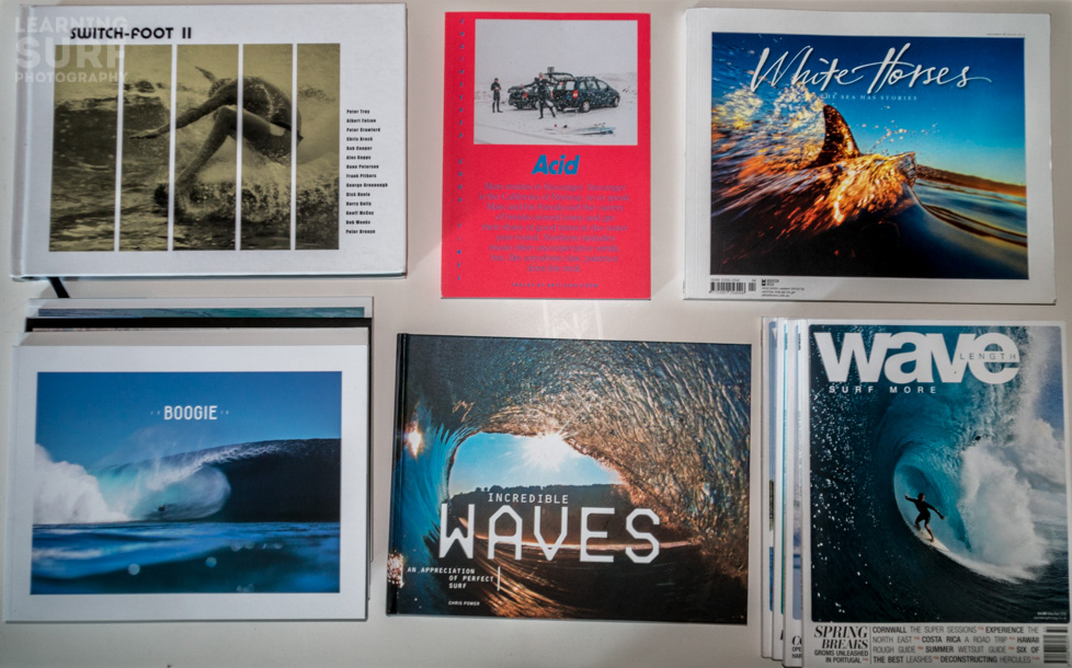 Some of the magazines and books I've picked up recently, clockwise from top left: Switchfoot II, Acid, White Horses, Wavelength, Incredible Waves and Le Boogie