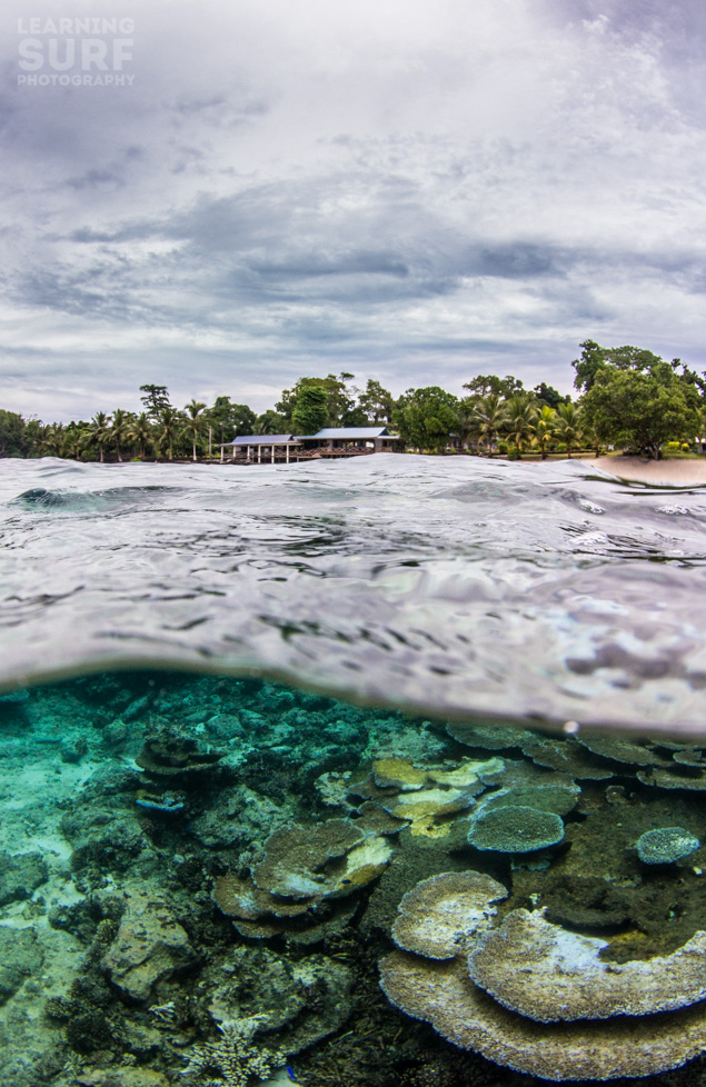You can see the Aganoa Beach resort's restuarant, just to my left is a great right hander and sea turtles regularly cruise through the coral under the line up, Samoa is paradise. ISO 250, 10mm, f8, 1/1000