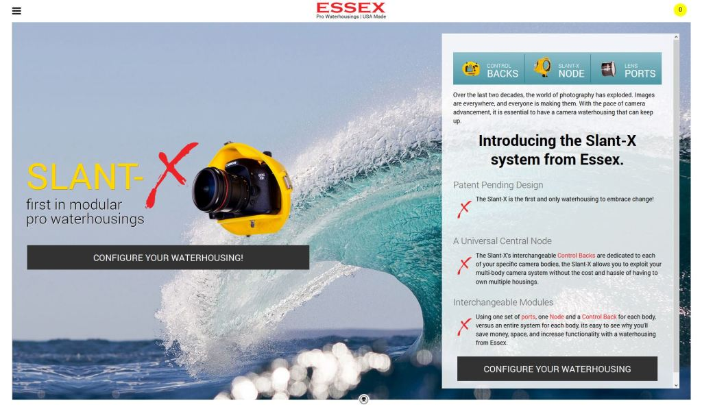 the new waterhousings.com site featuring the Essex Slant-X system