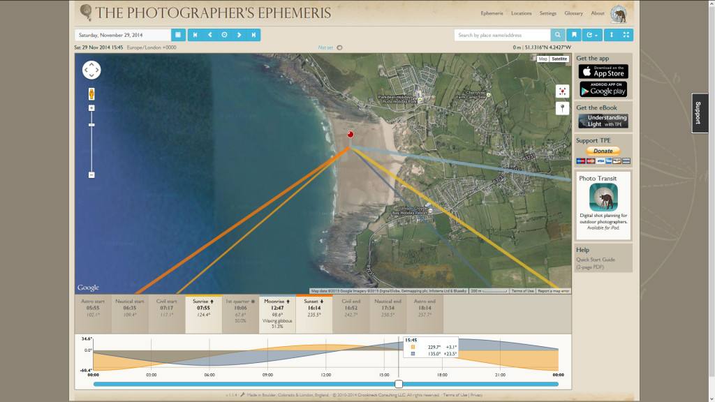 Here's a screen grab from the Photographer's Ephemeris desktop web app, This is the date, time and position I was in when the shot was taken, as you can see the low sun makes for a great shot of the backlit tubes of the left hander. read more about this tool in my post: Predictable Surf Photo Lighting with the Photographer's Ephemeris
