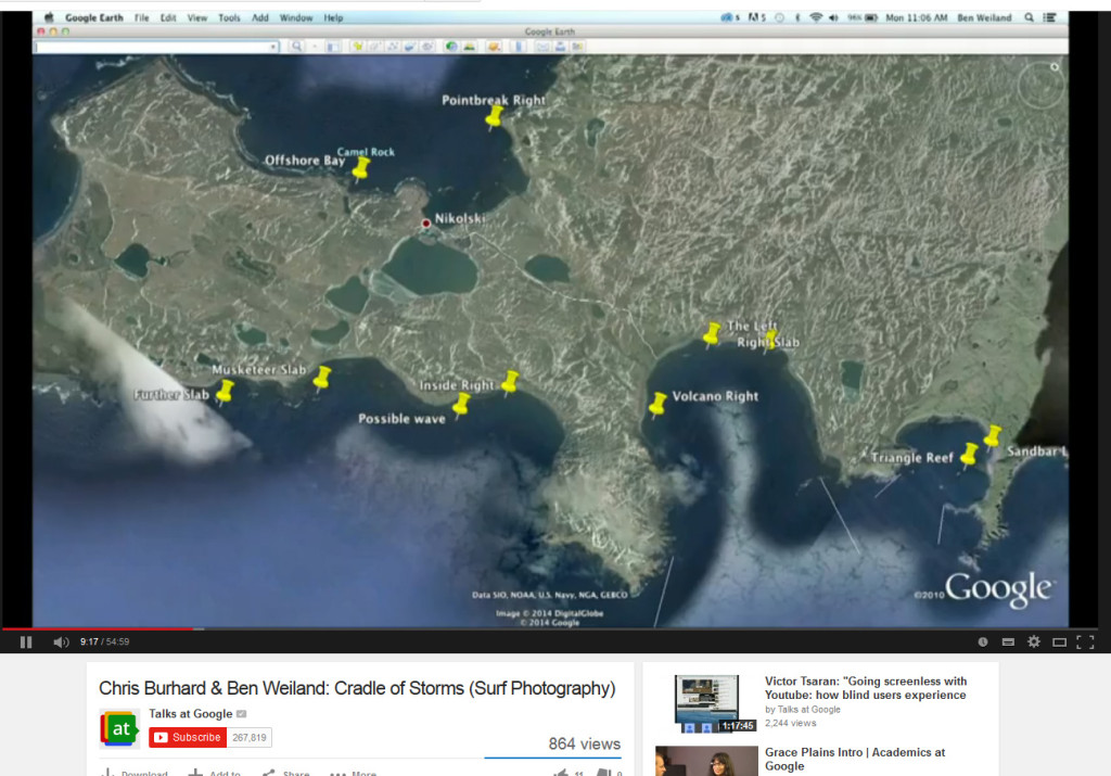The Google maps complete with pinned locations of potential waves, check out Cradle Of Storms to see surfing done at some of these locations.