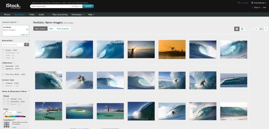 Reniw-Imagery's portfolio on stock photography site iStock.