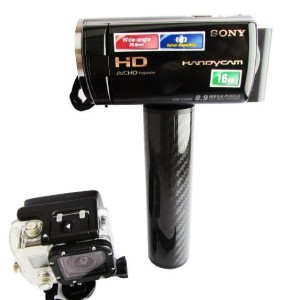 The Ho Stevie GoPro handle has a tripod screw built in so you can use it with the Meikon Sony a6000 housing