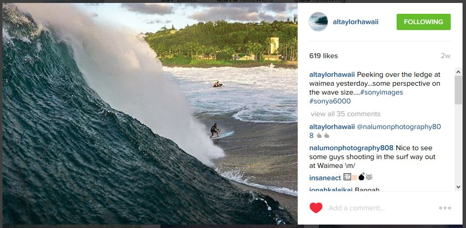 Al taylor shooting with a Sony a6000 water housing in Hawaii