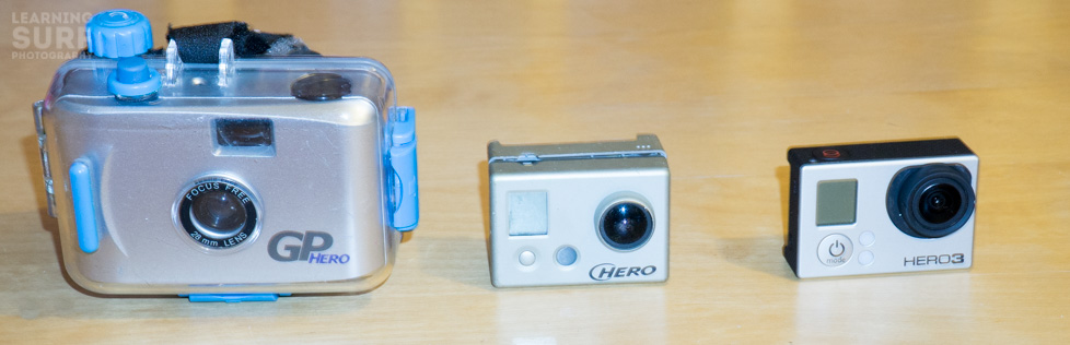 GoPro cameras, original 35mm, Hero 1 and Hero 3 Black edition