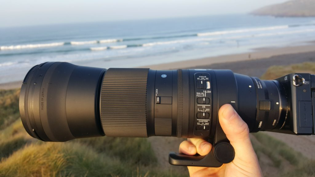 The Sigma 150-600mm contemporary lens mounted to my Sony a6000 at the beach