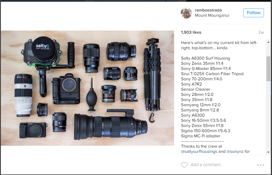 Rambo Estrada's surf photography kit, including Sigma 150-600mm telephoto zoom lens