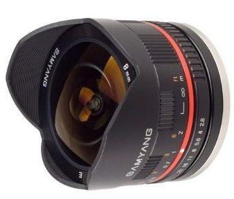 Samyang 8mm fisheye also called the Rokinon 8mm fisheye